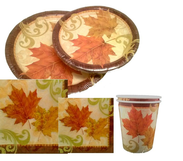 Autumn traditions thanksgiving falling leaves plates