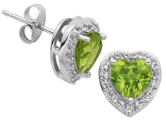 Peridot And Topaz Sterling Silver Stud Earrings 1.36ctw