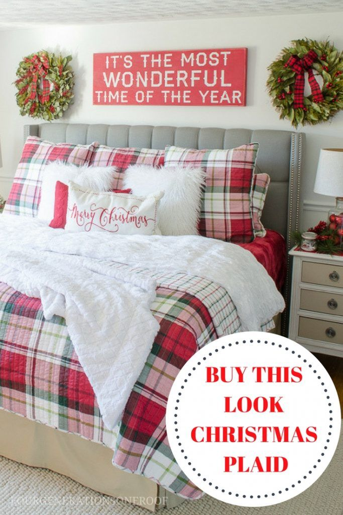 Buy our Christmas plaid bedding look now! Get the White Pine bedding look using a plaid duvet, matching shams, white fur pillows, knit red sweater pillows, red quilt and Merry Christmas lumbar pillow.  via @4gens1roof