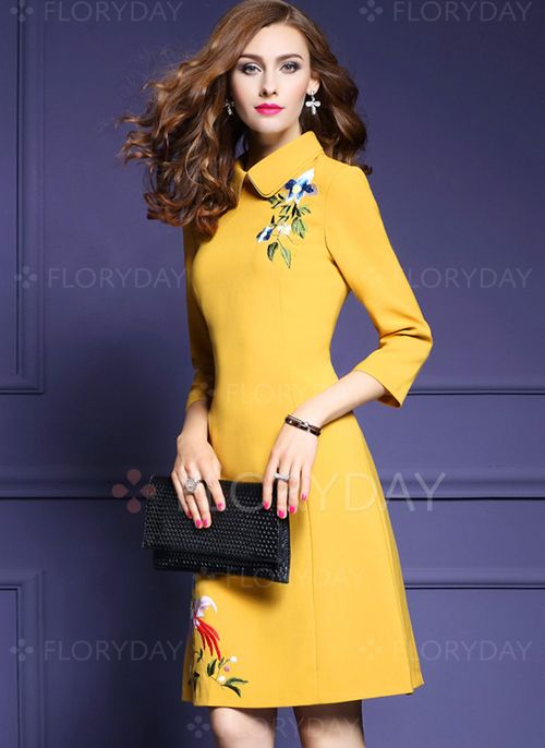b878cfe9eceb5 Vestidos Algodón Elegante Sobre las rodillas Manga de 3 4 Liso (1028624)    floryday.com