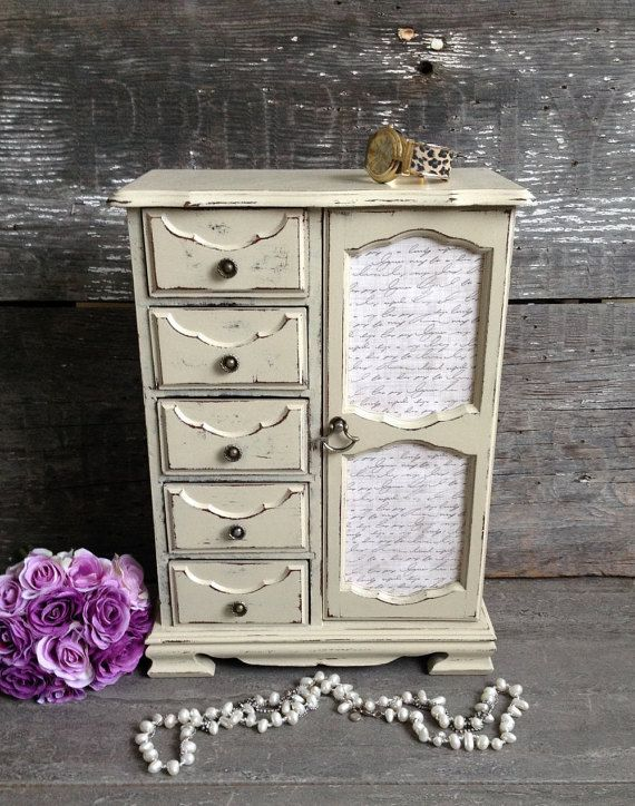 "$139. Avail 12/30/16. patinamor. 16 x 11-1/2 x 6-1/2. Large Tall Off White/Beige/Ivory Jewelry Box, Armoire, Vintage, Chic, Mirrored Wood Cabinet.  A unique, full-length, mirrored ""swing-out"" necklace caddy in its original cherry finish. Beige suede fabric lining in excellent condition."