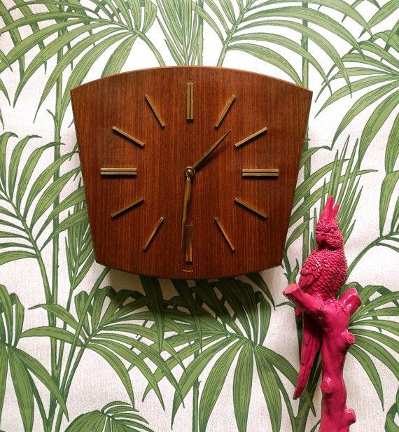 Mid century teak wall clock, Mid century modern wall clock, Vintage clock, Schats vintage wall clock, 60s geometric teak clock, Schats clock