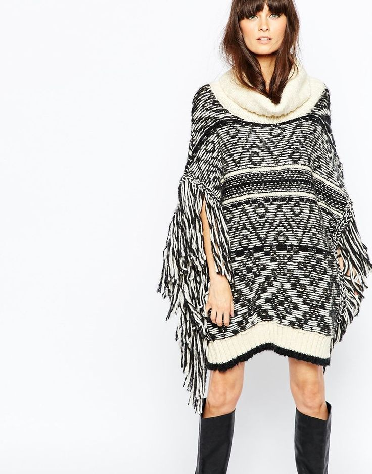 Essentiel Antwerp Chunky Knit Poncho With Fringe Sleeves