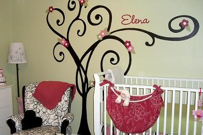 love pink & green in a baby girls room ♥
