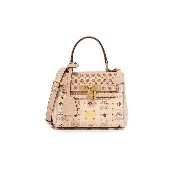 MCM Visetos Satchel ($1,335) ❤ liked on Polyvore featuring bags, handbags, beige, beige purse, handbag satchel, monogrammed handbags, top handle satchel and top handle purse