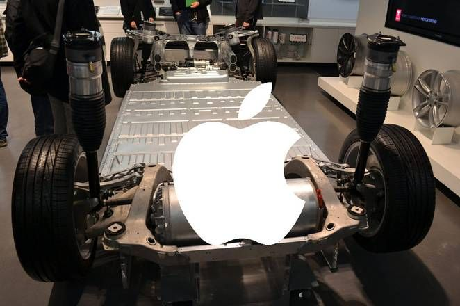 Apple logo on Tesla car battery