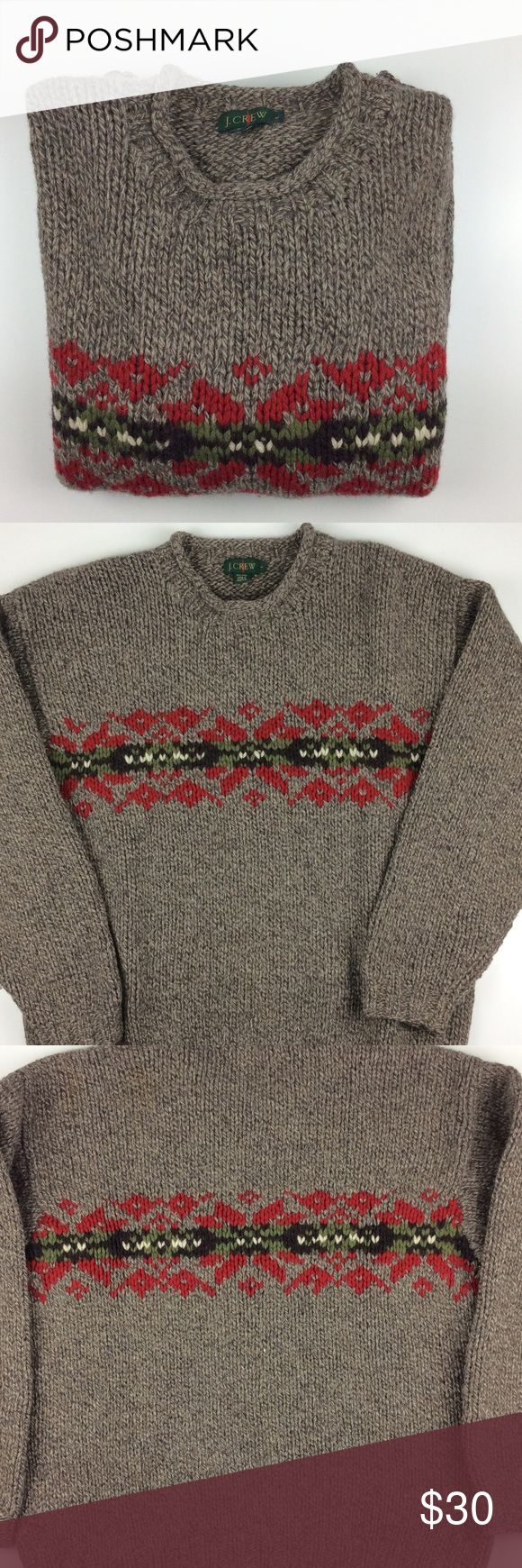 Mens Wool Sweater Like new and Perfect for the cold weather. You'll be warm and stylish this holiday. This can be a Mens or Women's sweater. See pictures for measurements J. Crew Sweaters Crewneck