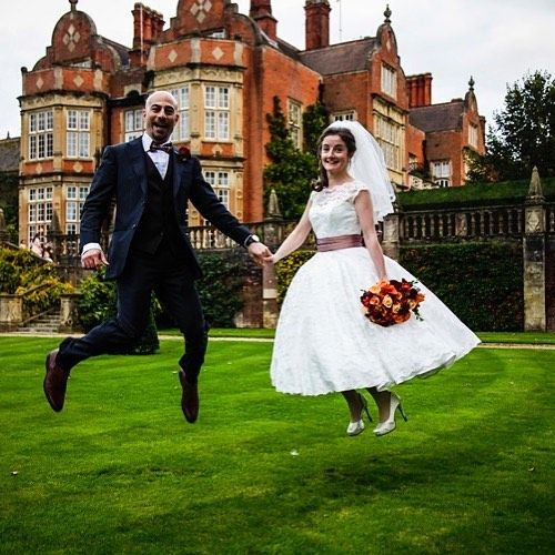 #wedding #silly #fun #jump#bride #groom #tylneyhallhotel