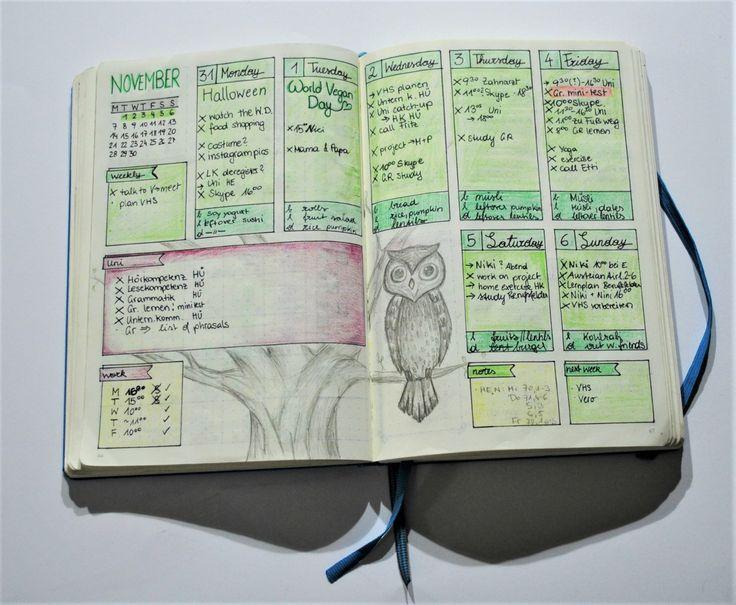 Beispiel für eine Wochenübersicht in deinem Bullet Journal - weekly log ideas