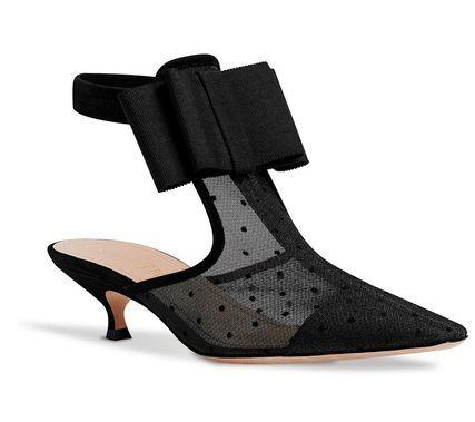 Christian Dior サンダル・ミュール DIOR 新作★アンクルストラップ ブラック レース リボンミュール(2)