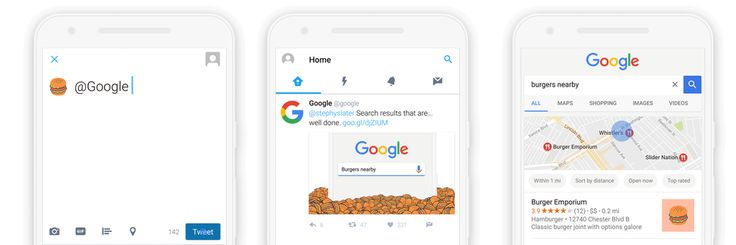 Search Google with an emoji tweet -- no words necessary     - CNET  Enlarge Image  Now you dont even have to say any words to get results from Google. Photo by                                            Google                                          They say a picture is worth a thousand words but an emoji is worth thousands of Google results.  You can now get answers from the search engine giant just by tweeting an emoji to Google the company said Tuesday. A burger emoji will show you…