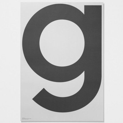 This poster withe the letter G forms part of the Playtype GREY  poster series. The Playtype posters are now available in the UK at Skandivis. 	Dimensions: 70cm x 100cm.