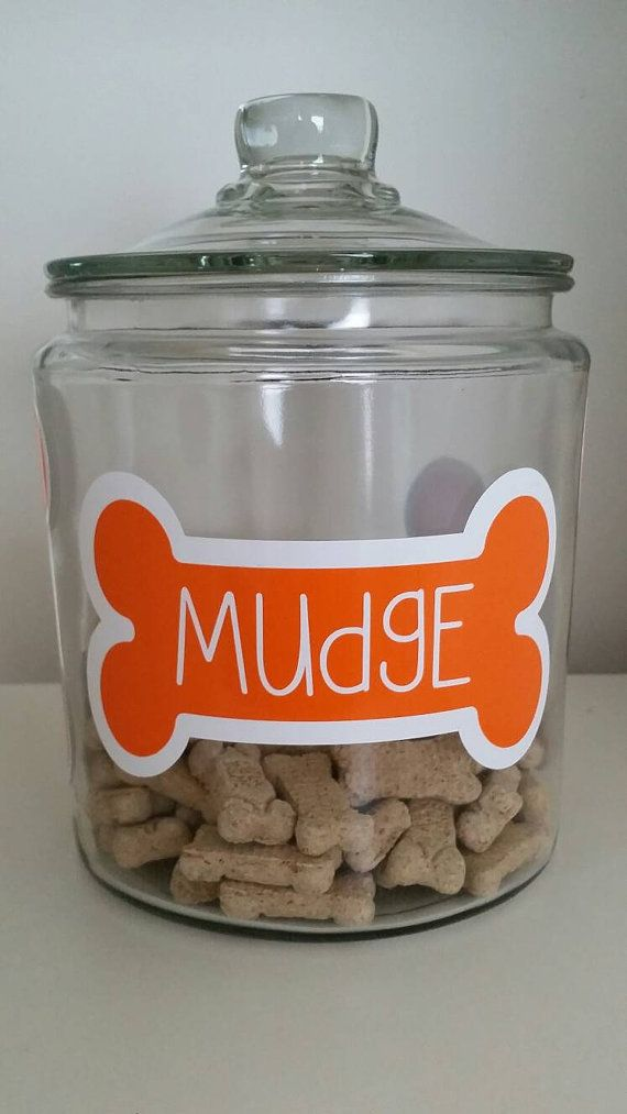 Check out this item in my Etsy shop https://www.etsy.com/listing/220820153/dog-treat-jar-decals-personalized-dog