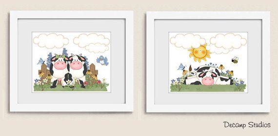 Printable Farm Animal Cow Girl Baby Nursery Wall Art Prints Digital Download Kitchen Kids Floral Barnyard R Baby Nursery Wall Art Nursery Wall Art Cow Wall Art