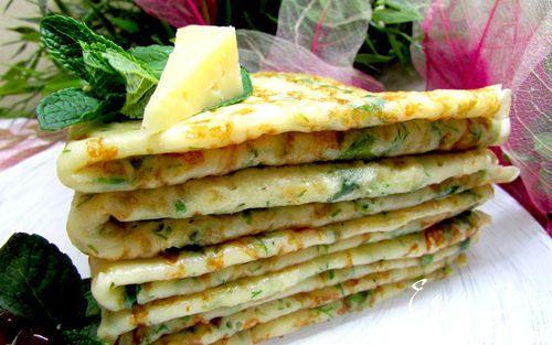 Рецепт – Сырные блины с зеленью