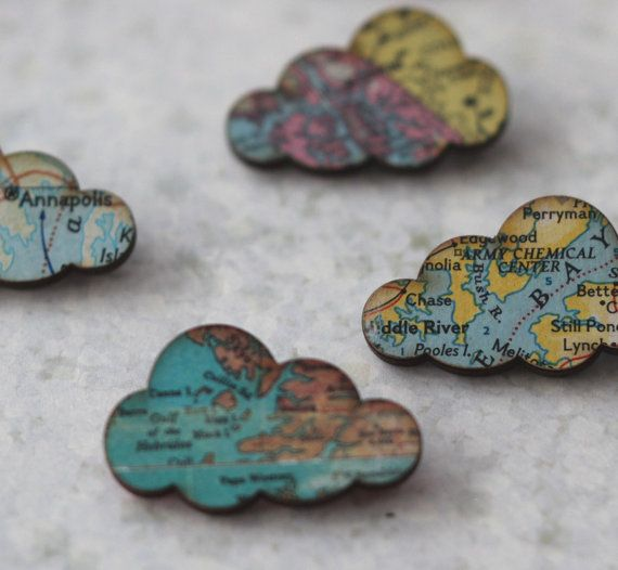 Cloud Brooch - Vintage Maps - Puffy Rain Clouds - Spring Travel - Pastel Blue, Pink, Green, Yellow