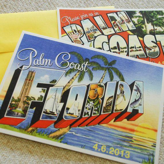 Vintage Travel Postcard Wedding Invitation (Palm Coast, Florida)