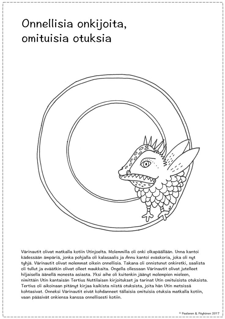 O-kirjain tarina ja värityskuva