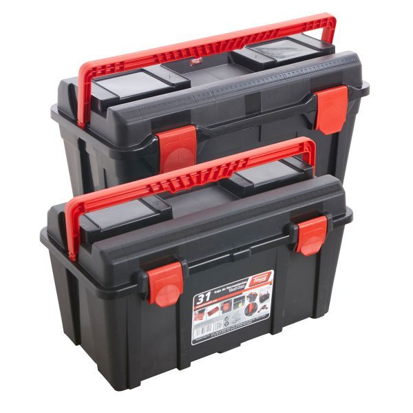 Portable tool box manufactured from impact-resistant plastic. Features a folding carry-handle which locks lid into place - without having to secure the side clasps - and prevents accidental spillage when lifting.