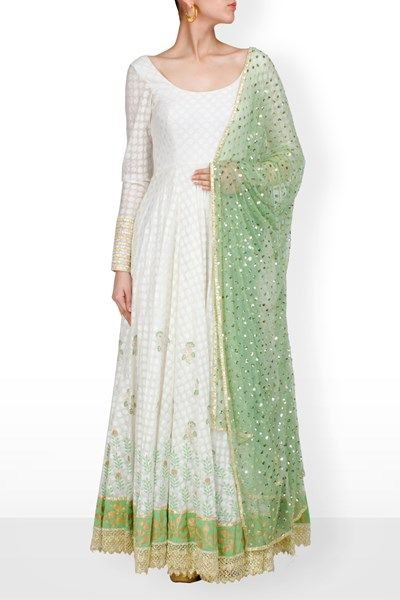 off white anarkali with block print in olive green and gold,olive green net…