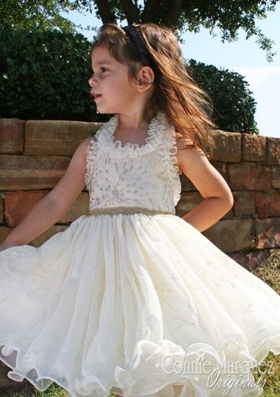 Cream Gold Wedding Flower Girl dress for Helena??
