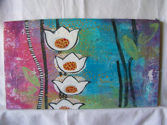 Water GardenMixed Media Original on Wood by Hilary by RunningDevil, $65.00