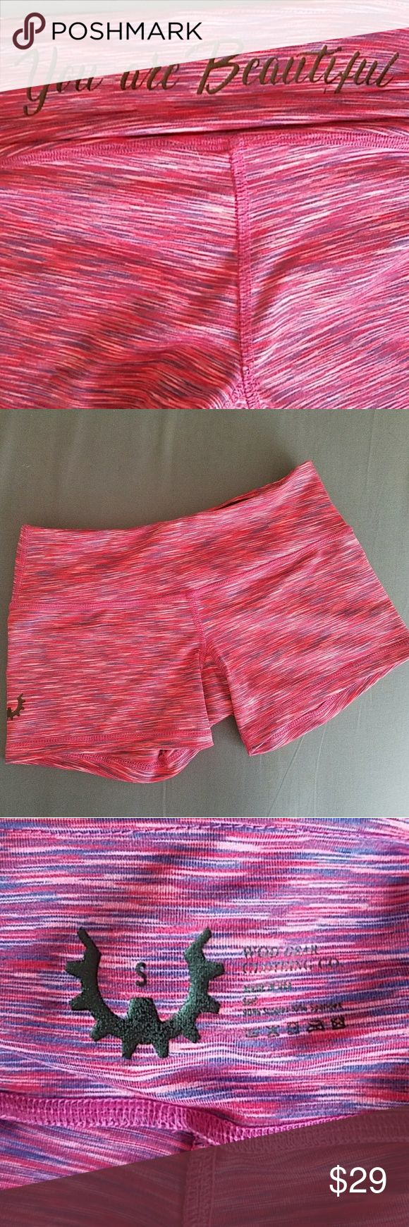Athletic Shorts Pink and blue WOD GEAR bike style shorts. Like new. Size small. Small front key pocket. MMA WOD GEAR Shorts