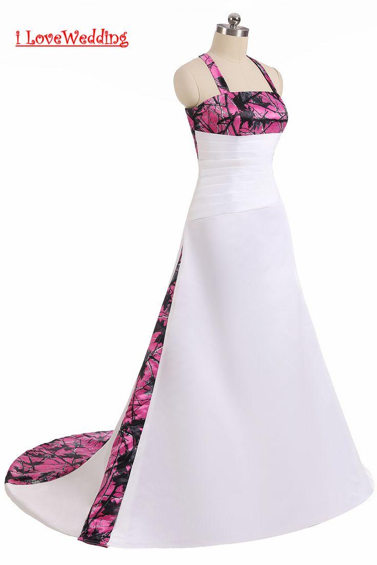>> Click to Buy << iLoveWedding Ball Gown Rosa Red Camo Wedding Dresses Halter Sleeveless Camouflage vestidos de novia Appliques Bridal Gown  #Affiliate