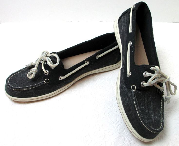 Women's Sperry Topsiders Firefish Ripstop Black Canvas STS97717 Boat Deck Shoes #Sperry #BoatShoes