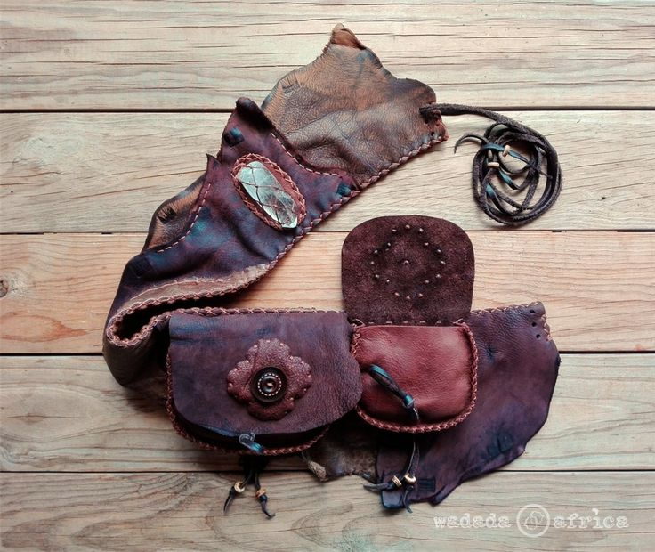 Ready to Ship // Handmade Upcycled Deerskin Leather Unisex 2 Pocket Lace-up Utility Belt with Clear Quartz Crystal Point by WadadaAfrica on Etsy