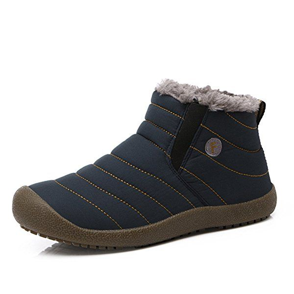 L-RUN Boots Chukka caliente de la piel de los hombres Resbalón-en nieve botas cortas (40 EU, Azul)