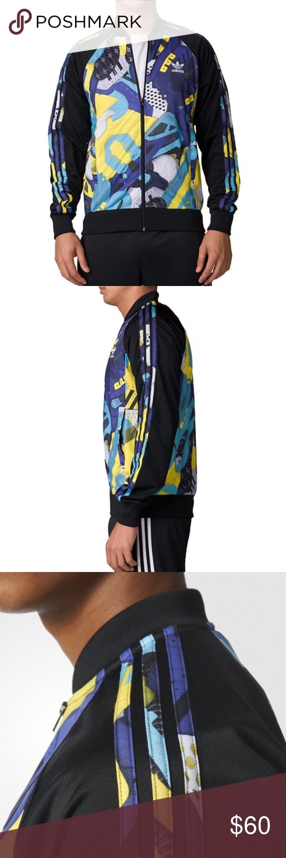 Adidas Montage Three Stripes Black Track Jacket Brand new with tags, Men's size Small. This Adidas Montage Three Stripes Black Track Jacket is such an eyecatcher! A classic style that becomes a statement piece with its montage print all over! Love the blue, yellow, purple and black color combination. Full zipper closure. Has the iconic 3 stripes along both sleeves. Adidas trefoil logo on the chest. Ribbed cuffs and hem. Has 2 front pockets. Made of 100% Polyester. adidas Jackets & Coats