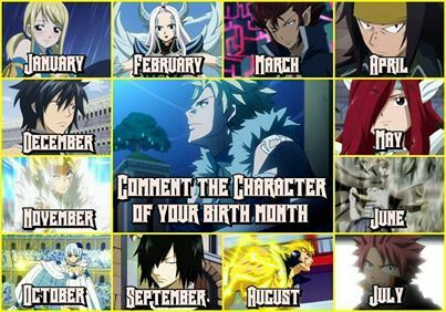 What fairy tail character is your birth month