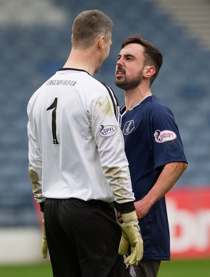 Queen's Park's Anton Brady not happy with the Brechin keeper during the Ladbrokes League One game between Queen's Park and Brechin City.