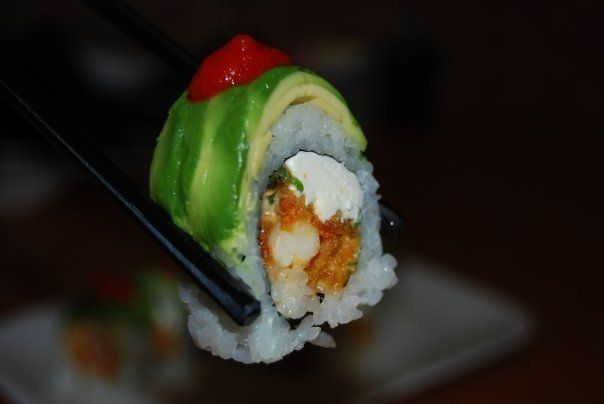 King of the monsters (and our stomachs) - this week's feature is the Godzilla Roll! Fried crawfish, spicy mayo, cream cheese, serrano chilies and chives , rolled uramaki style and wrapped with avocado. Topped with sriracha sauce. Regularly $13, only $9 this week during Happy Hour from 3-7!