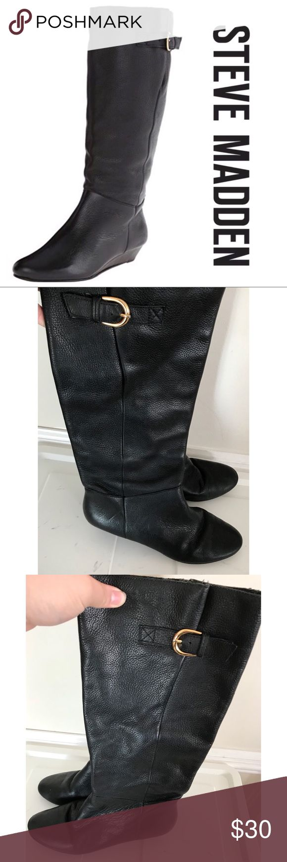 Steve Madden Intyce Leather Boots Size 6.5 Steve Madden Intyce Leather Boots Size 6.5 have been gently used and is in good condition! Sexy and chic, these boots are perfect for the fall and winter seasons. Heels have slight wear and scratches which are pictured above. Size 6.5 Steve Madden Shoes Over the Knee Boots