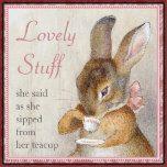 """Un trivet personalizado maravilloso de la teja o del té del arte para cualquier persona cocina, ésta haría un regalo maravilloso para el amante del té, el colector de Beatrix Potter, o el cualquier persona parcial a los conejos.   <br><br>El texto lee la """"materia preciosa"""" y entonces por debajo """"ella dijo mientras que ella sorbió de su taza de té"""" -- pero usted puede cambiarla cualquier cosa que usted tiene gusto. Para cambiar el texto, mecanografíe simplemente adentro el texto deseado…"""