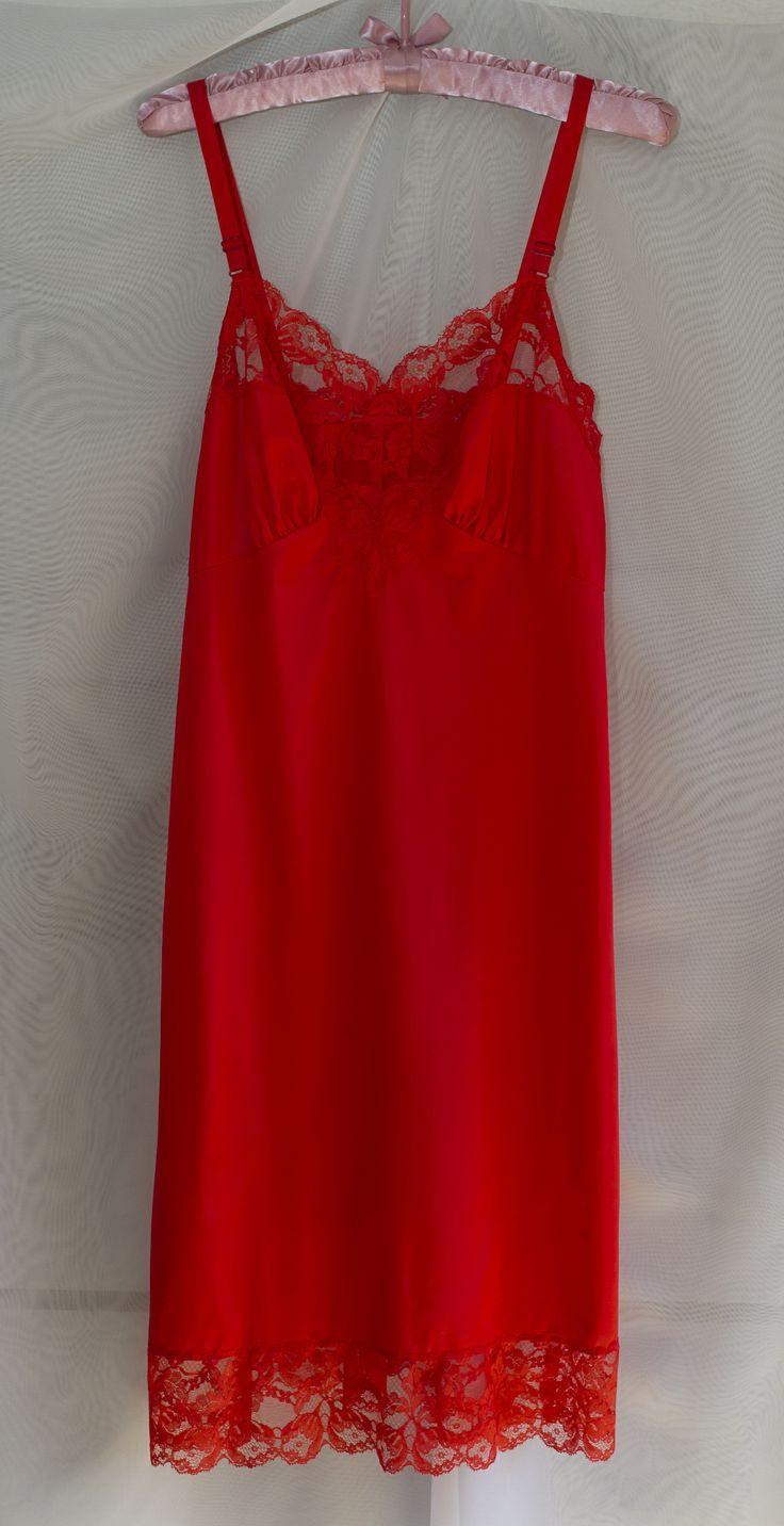 Harvey Woods tomato red full slip. Gorgeous.