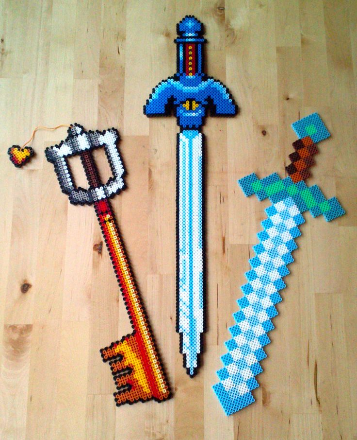 Swords perler beads by Oggey-Boggey-Man on DeviantArt:Mickeys Keyblade - Kingdom Hearts, Mastersword - Legend of Zelda, A Link to the Past and Diamondsword - Minecraft.