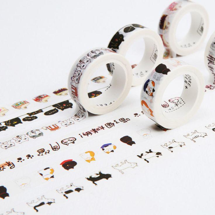 DIY Lindo Kawaii Cinta Cinta Decorativa Washi Precioso Gato de la Historieta Para El Hogar Decoración Del Álbum de Foto Del Diario El Envío Gratuito 3606