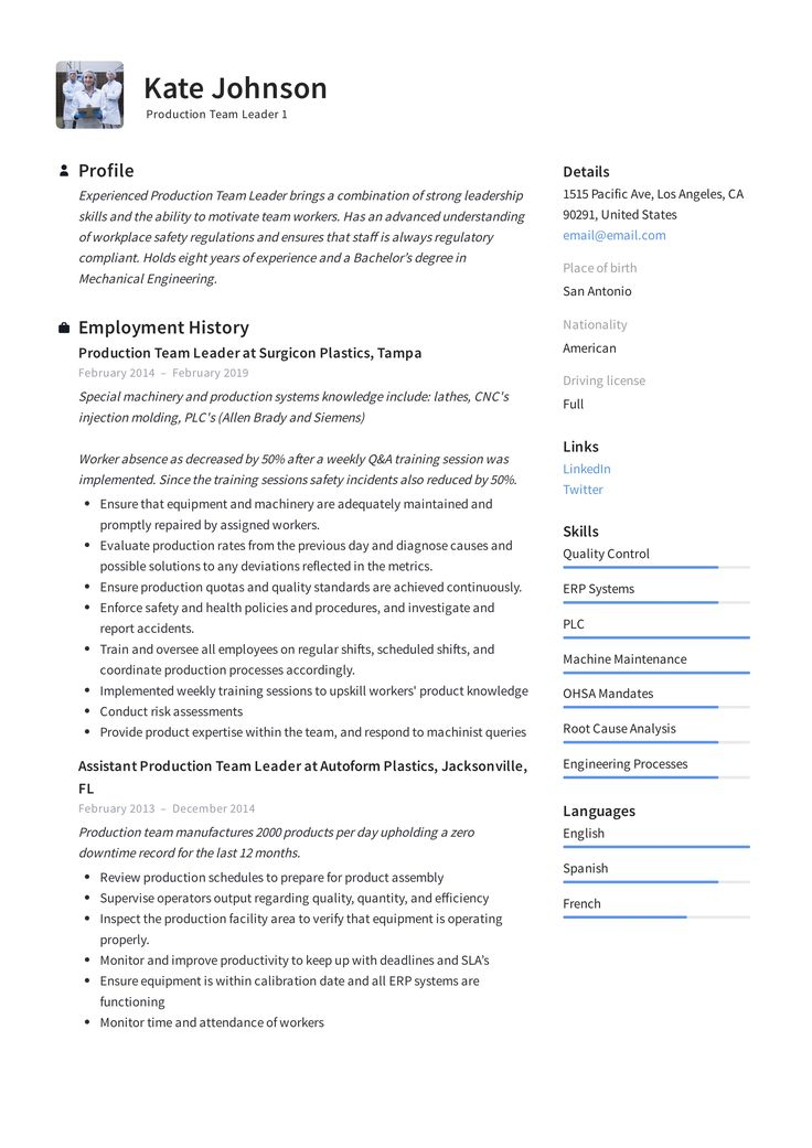 Production Team Leader Resume Template Resume examples