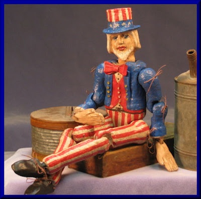 Ball and Joint Antique styled Patriotic Uncle Sam Doll