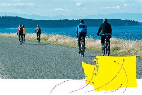 Great biking weekend getaways: Castle Rock, Lopez Island, Republic, Richland, and Winthrop.