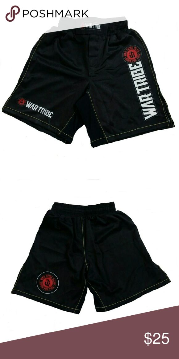 War Tribe Grappling Shorts With remarkable lining, ultra-soft, water resistant, breathable material and a high side slit to accommodate high kicks and flexibility, allowing unrestrained movement for ease in grappling. Your mobility will not be restricted. Sublimated graphics for long lasting vivid colors. Polyester with Lycra lined crotch panels for added flexibility. NEW, THEY DID NOT COME WITH TAGS. THEY CAME IN A WAR TRIBE BAG...No trades. War Tribe Shorts Athletic