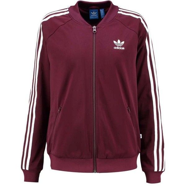 adidas Originals Bomberjacka maroon ($41) ❤ liked on Polyvore featuring adidas originals jacket, adidas originals, purple bomber jacket, blouson jacket and flight jacket