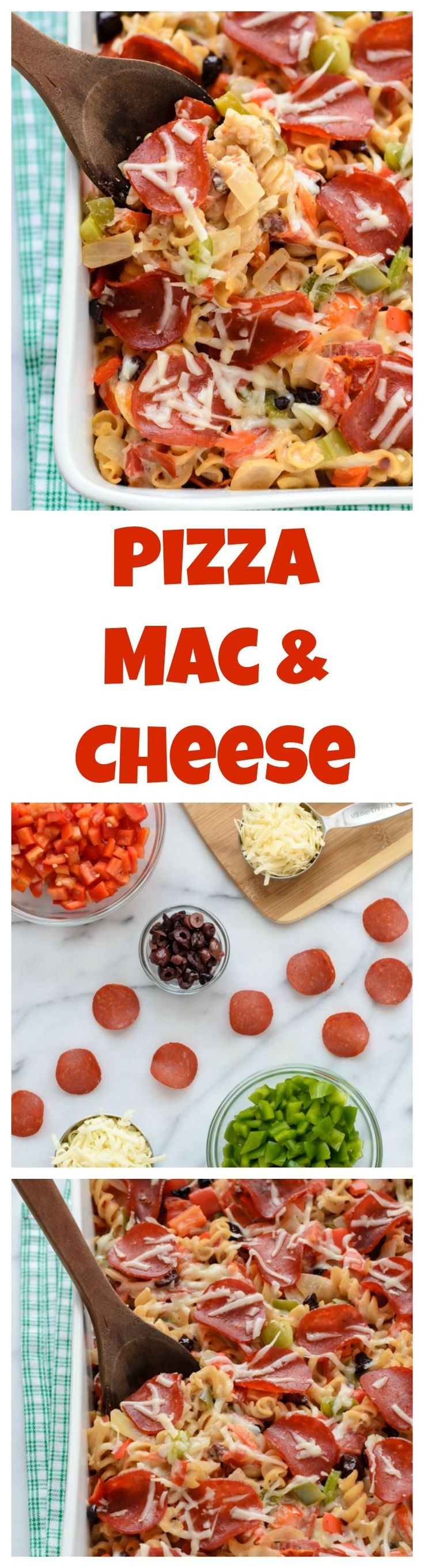 An instant family favorite: Lightened up Pizza Mac and Cheese. A healthier baked mac and cheese with turkey pepperoni, veggies, and any of your favorite pizza toppings.