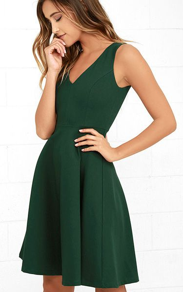 Hello World Dark Green Midi Dress via @bestchicfashion
