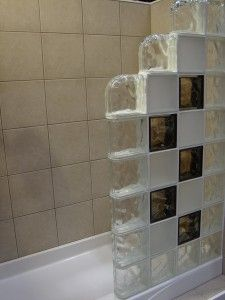 colored frosted glass block shower wall using finished end blocks