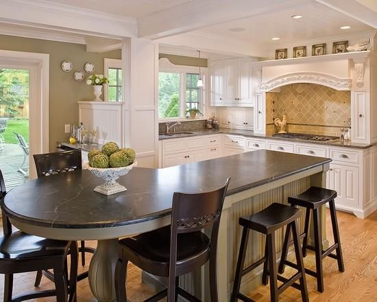 kitchen islands with seating for 6 with chicken statue ornament - Kitchen Island Design Ideas With Seating