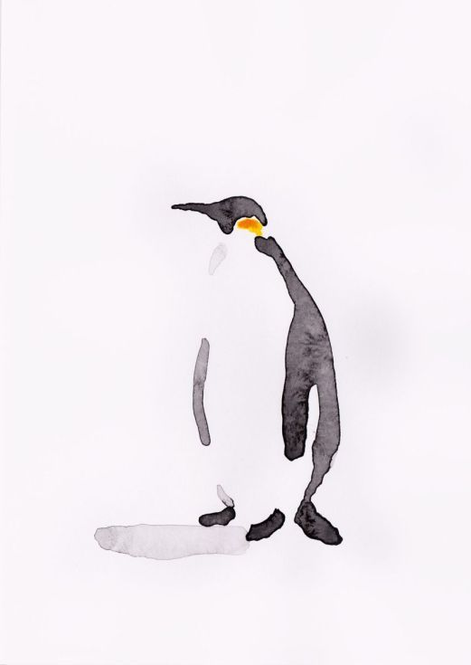 ARTFINDER: Penguin 8 by Becca Alaway - A series of Penguin paintings using a loose ink and watercolor wash technique.  Signed on the back.  Each piece is on 130gsm high quality paper.  Packaged ...